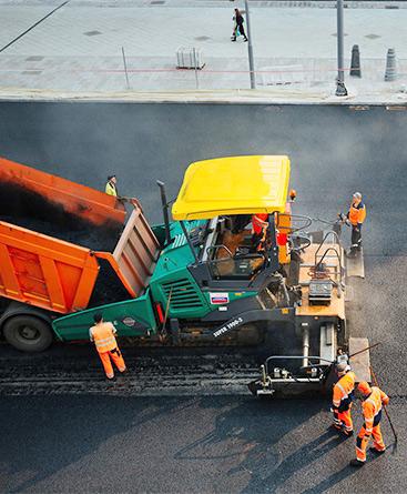 асфалтиране на голяма площ